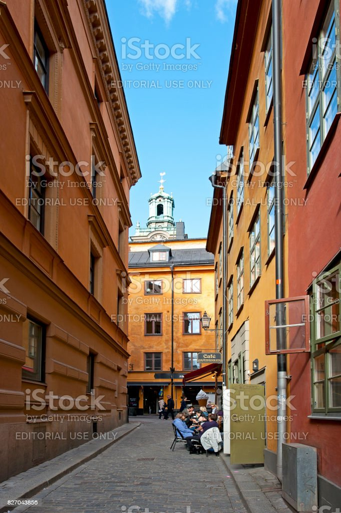Gamla Stan cafe alley, Stockholm, Sweden stock photo