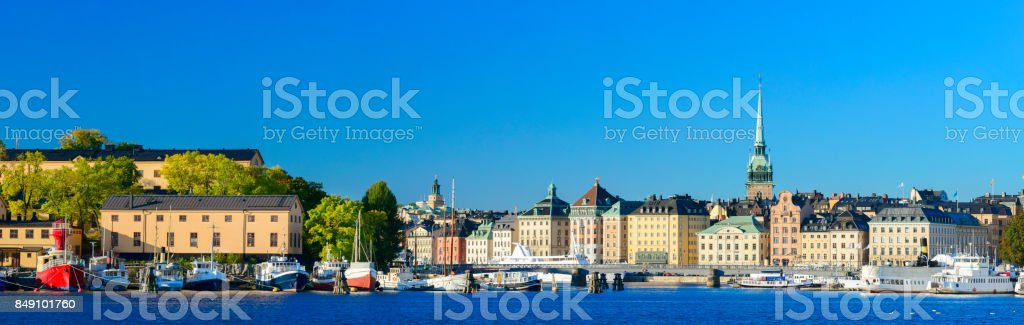 Gamla Stan City Skyline in Stockholm, Sweden stock photo