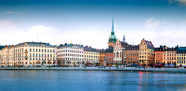Gamla Stan district in central Stockholm View to Gamla Stan district in central Stockholm, Sweden during a beautiful sunset. stockholm stock pictures, royalty-free photos & images