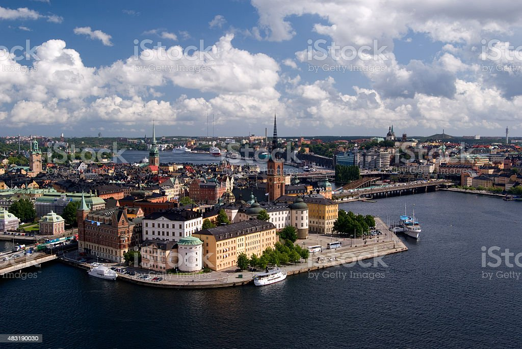 Gamla Stan from the City Hall of Stockholm stock photo