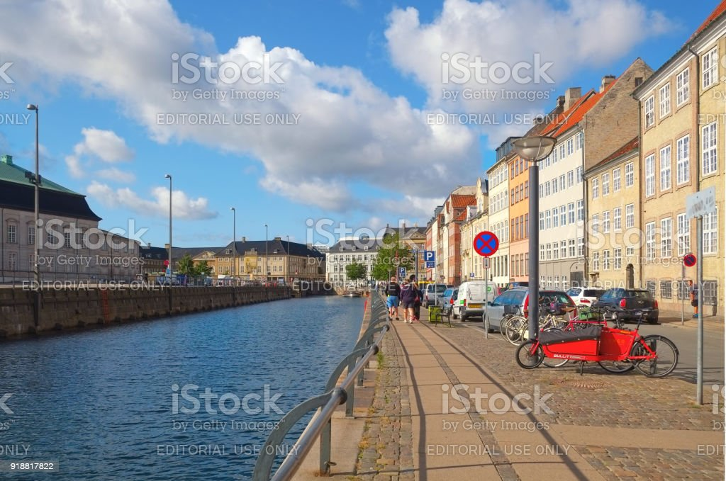 Gammel strand on the Slotsholmens Canal  in Copenhagen stock photo