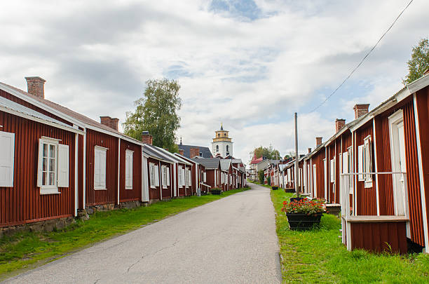 Gammelstad church town in Sweden stock photo
