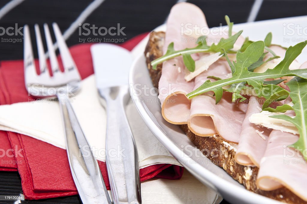 Gammon on bread royalty-free stock photo