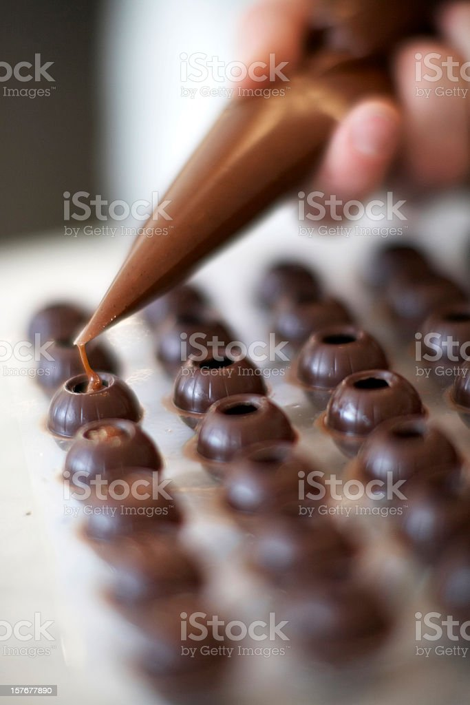 Ganach filled chocolates stock photo