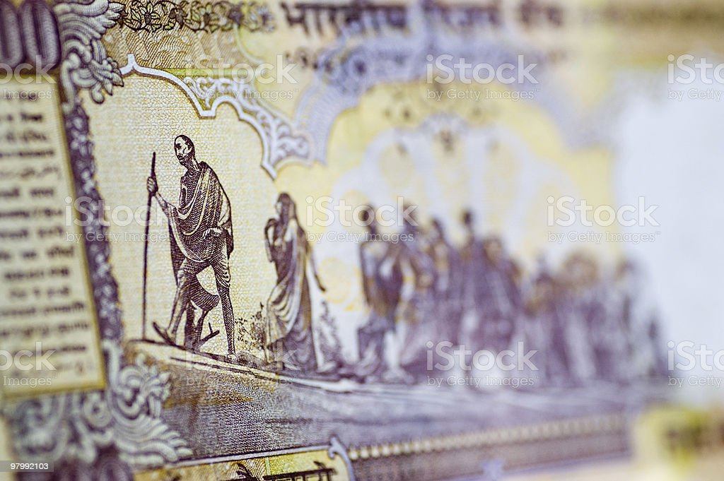 Gandhi March banknote royalty-free stock photo