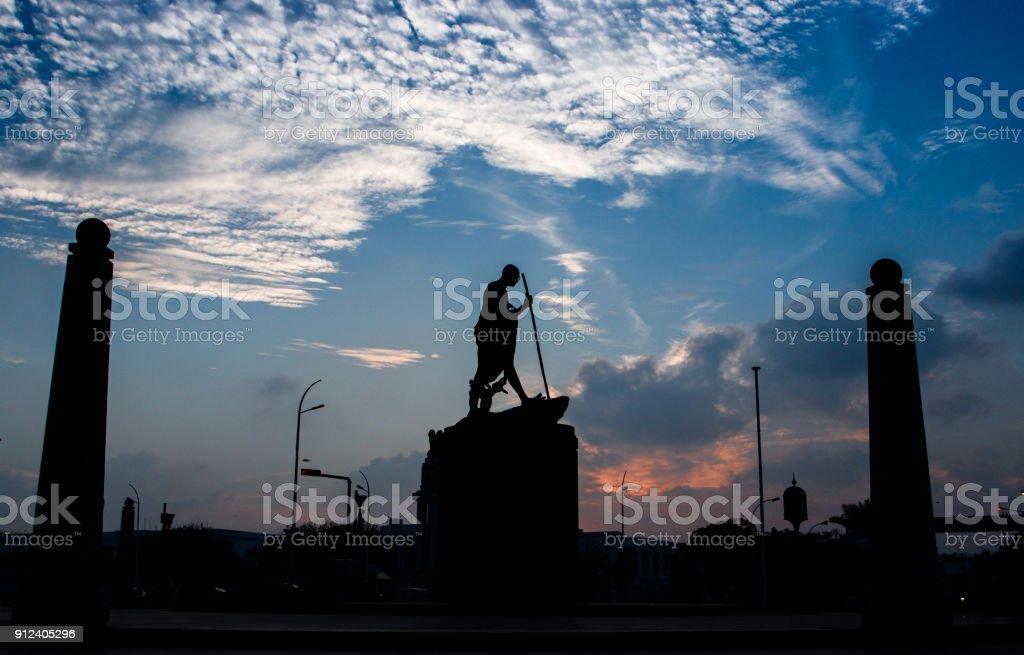 gandhi Statue at Trplicane Chennai stock photo