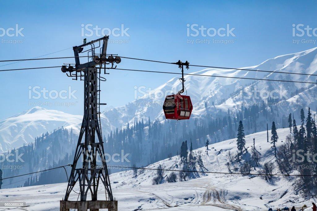 Gandola Cable car in Gulmarg stock photo