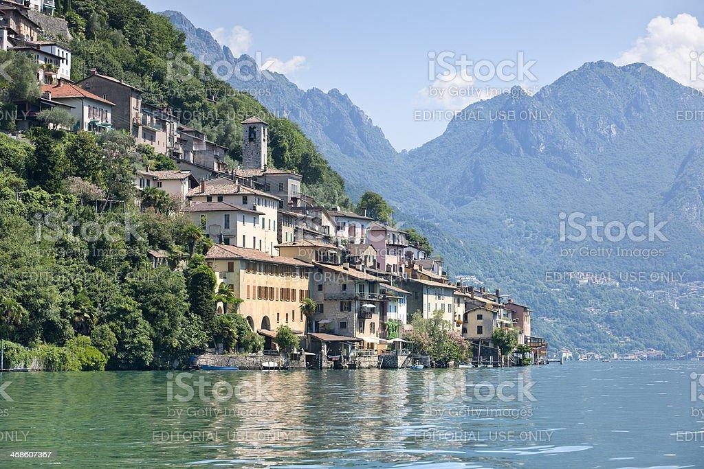 Gandria, village on the shore of Lake Lugano royalty-free stock photo