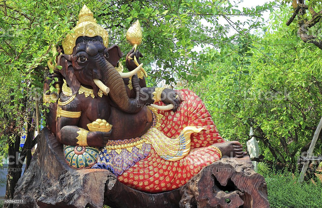 Ganesh carved wood in the nature royalty-free stock photo
