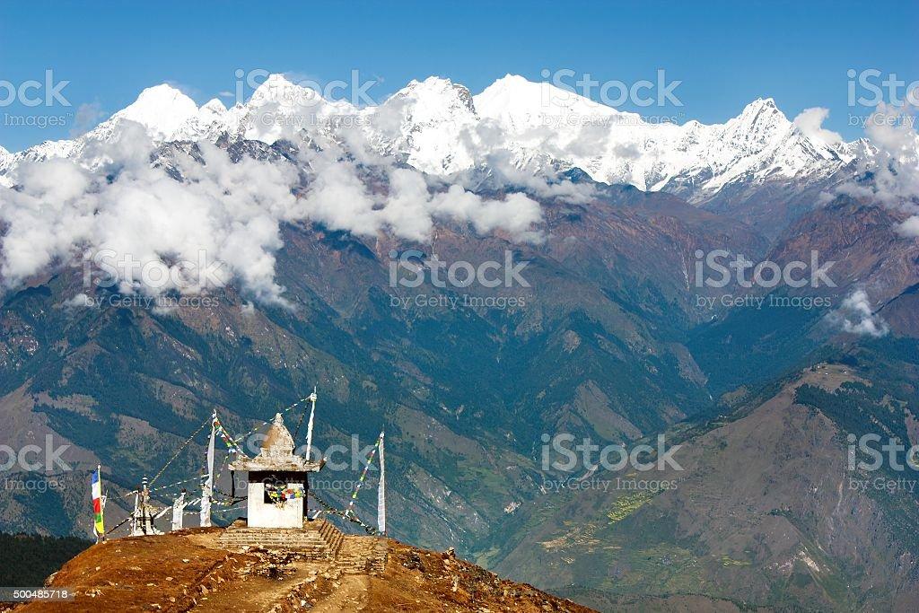 Ganesh Himal with stupa and prayer flags stock photo