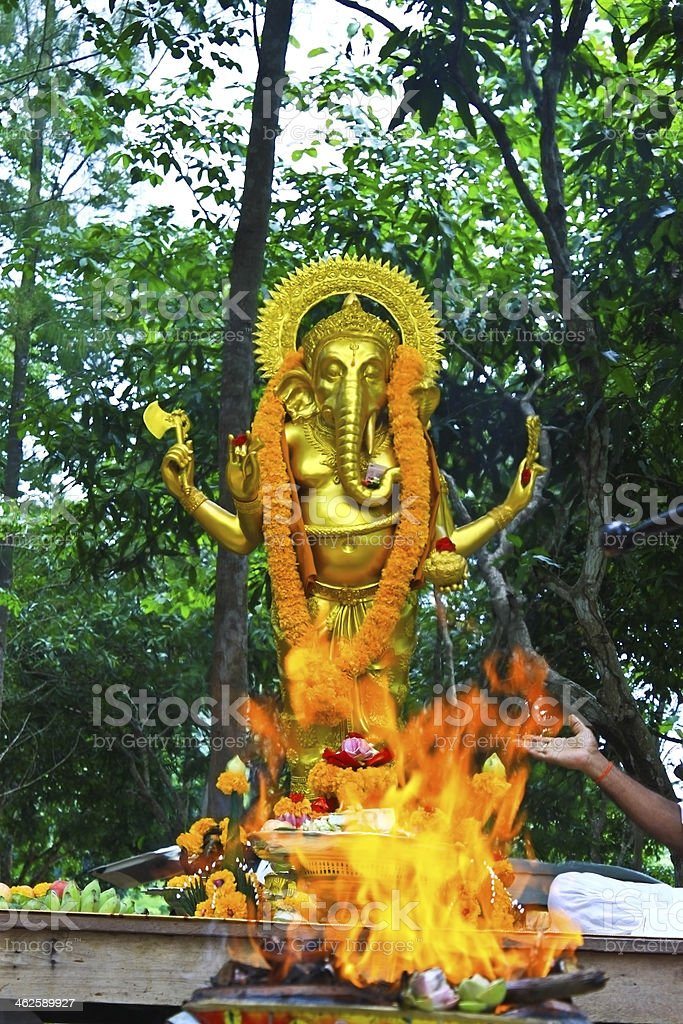 Ganesh in fire ceremony royalty-free stock photo