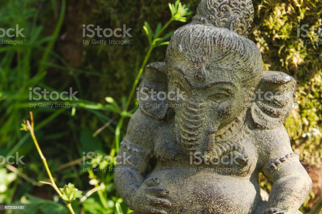 Ganesh Stone Statue In The Garden Royalty Free Stock Photo