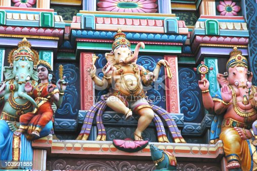Decoration of God Ganesh in a Temple of Karnataka, India