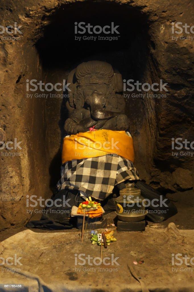 Ganesha in Elephant Cave, Goa Gajah, in Bali stock photo