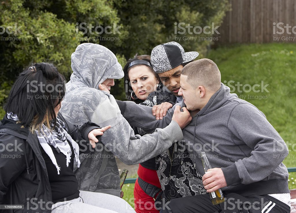 Gang Of Youths Fighting royalty-free stock photo