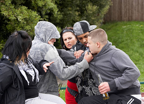 gang of youths fighting - fighting stock photos and pictures