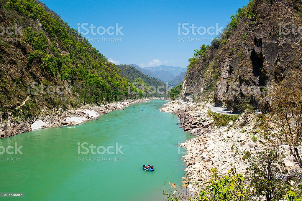 Gang river valley and rafting boat  near Rishikesh stock photo