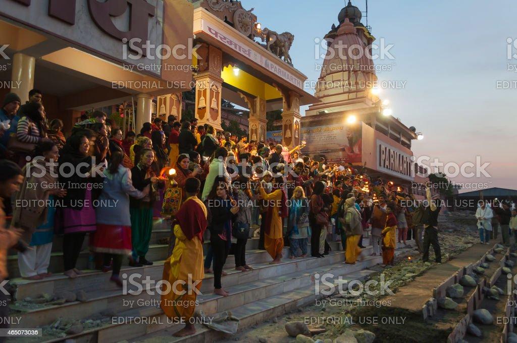 Ganga Aarti ceremony in Parmarth Niketan ashram at sunset stock photo