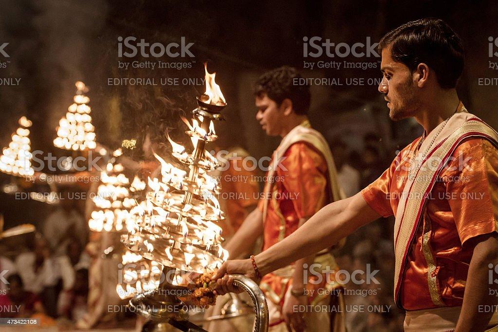 Ganga Aarti ceremony in Varanasi, India stock photo