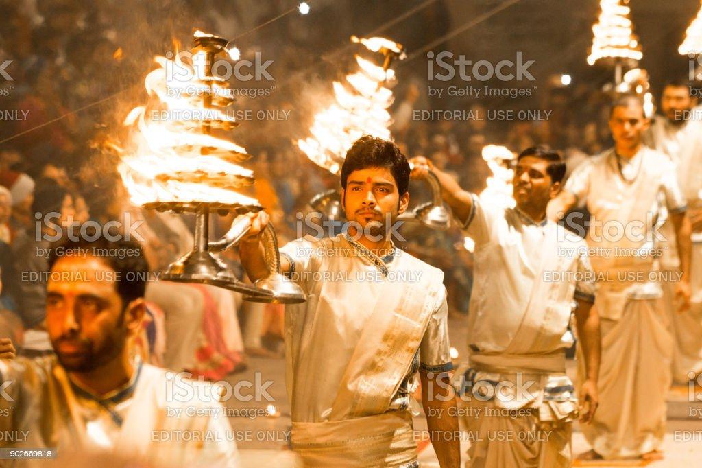 Ganga Aarti of Varanasi stock photo