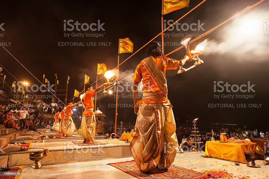 Ganga Aarti ritual stock photo