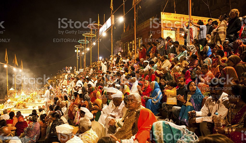 Ganga Aarti,Varanasi stock photo