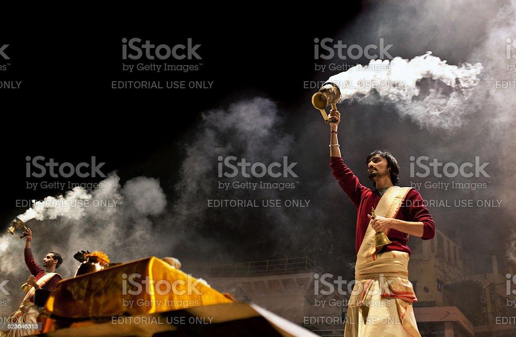 Ganga Maha Aarti Ceremony, India stock photo