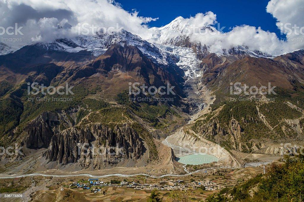 Ganga Purna and Manang village, in Nepal stock photo
