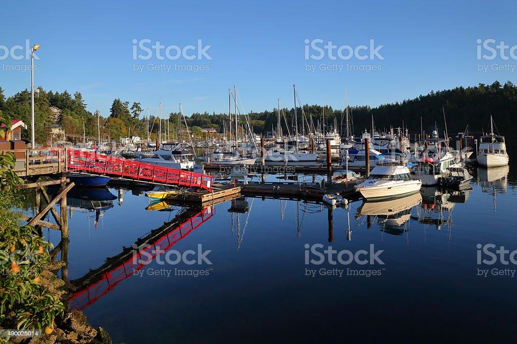 Ganges Harbor, Salt Spring Island, BC stock photo
