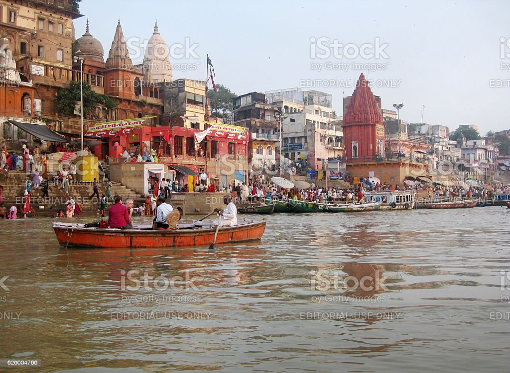 Ganges River banks with ghats, temples and devotees stock photo