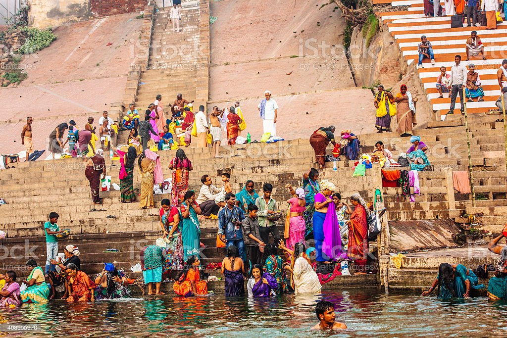 Ganges river bathers stock photo