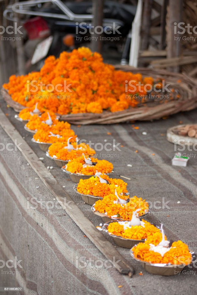 Ganges river candles stock photo