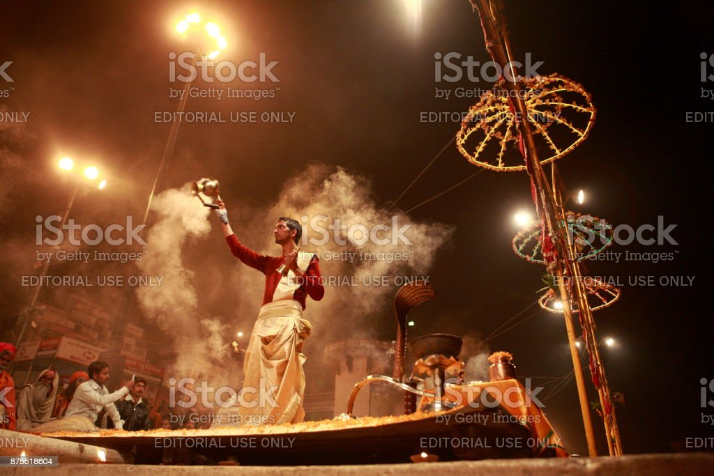Ganges River Evening Rituals stock photo
