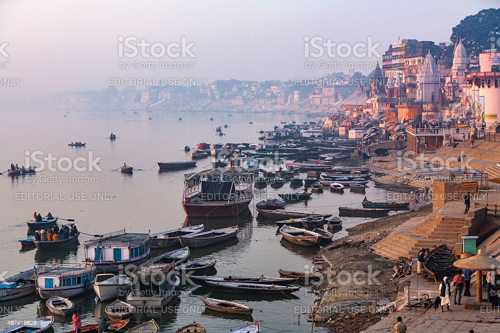 Ganges River Ghats in Varanasi stock photo