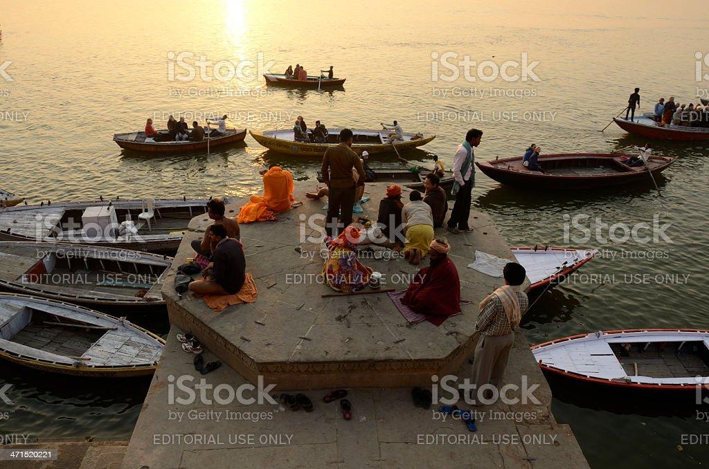 Ganges riverbank at sunrise royalty-free stock photo