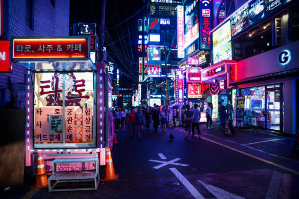 Gangnam shopping street with colorful neon lights at night, Seoul, South Korea stock photo