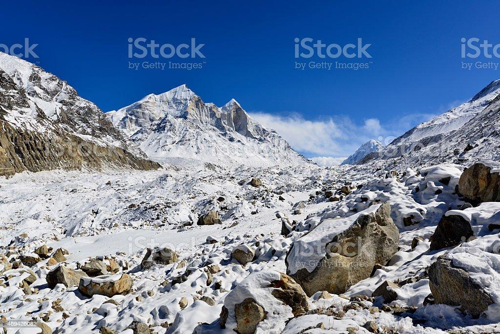 Gangotri glacier with Bhagirathi peaks in Garhwal Himalaya, Uttaranchal, Uttarakhand Gangotri glacier with fresh snow and Bhagirathi peaks in Garhwal Himalaya, Uttaranchal, Uttarakhand, India Asia Stock Photo