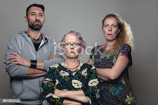 Gangster Trio Mother Adult Son And His Fiancée Stock Photo & More Pictures of Adult