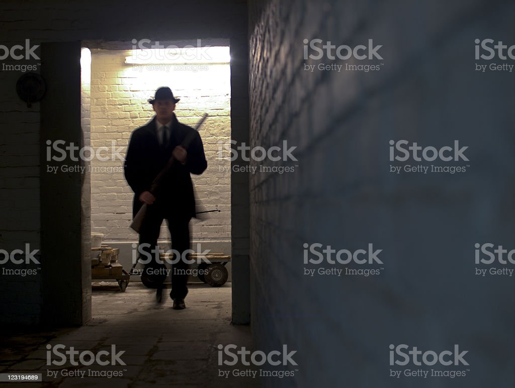 Gangster with gun royalty-free stock photo