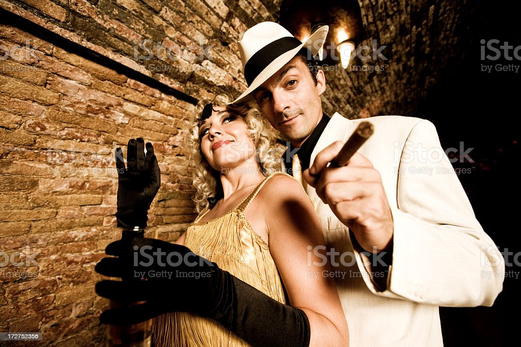 Gangster with his girl stock photo