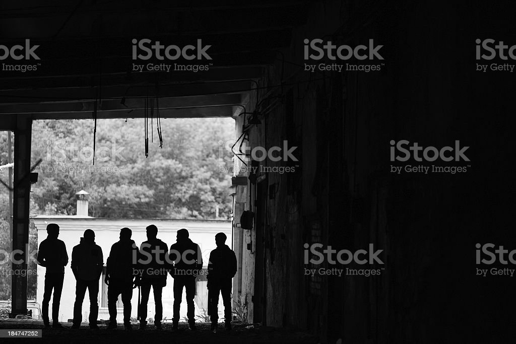 Gangsters outdoors stock photo