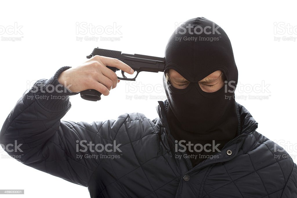 Gangster's suicide stock photo