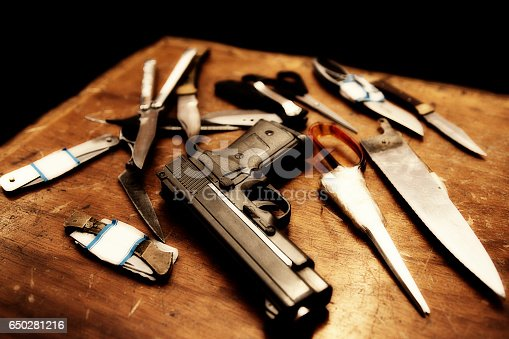Gangsters weapons of gun, blade and scisors