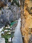 gangway over Vero River in Alquezar, Huesca, Spain