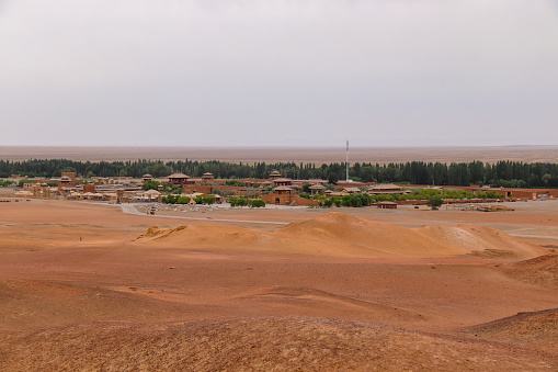 Landscape view of ancient Yangguan pass on the silk road in Gansu China.