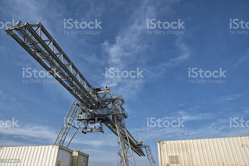 Gantry crane and cargo containers royalty-free stock photo