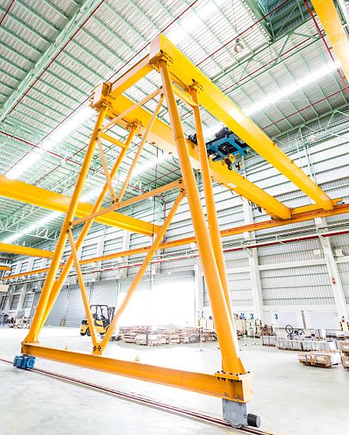 Gantry crane in factory stock photo
