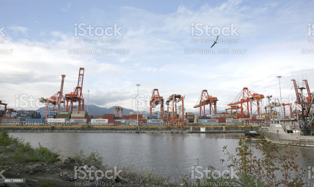 Gantry Cranes and Containerized Cargo in Vancouver Harbour, Canada - Royalty-free Burrard Inlet Stock Photo