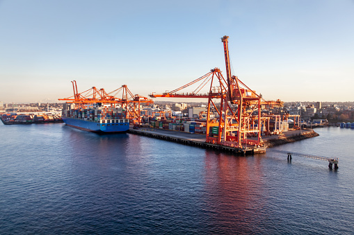 637816284 istock photo Gantry Cranes at Container Terminals Vancouver, BC 1156765560