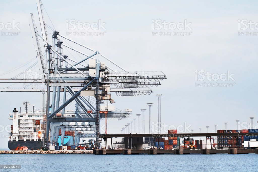 Gantry Cranes in a harbor stock photo